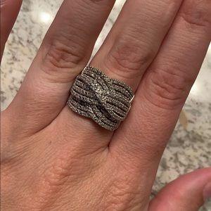 1/2 kt.triple weave diamond band sterling silver